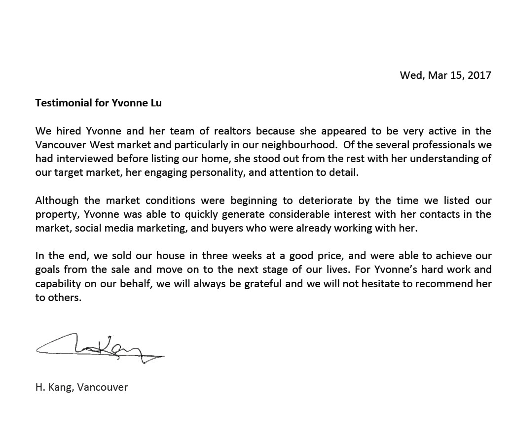 Vancouver West Point Grey Testimonial for Realtor Yvonne Lu
