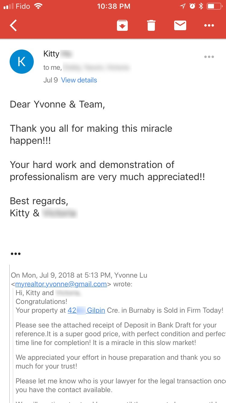 Kitty's Testimonial for his Realtor Yvonne Lu in Vancouver